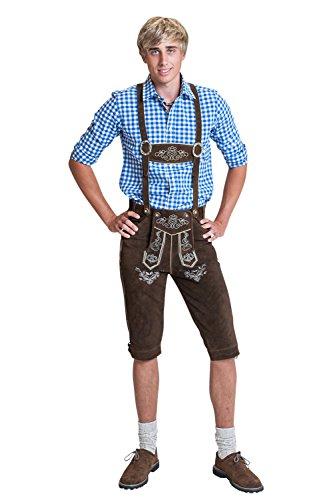 Herren Trachten Lederhose Kniebundhose mit Trägern in verschiedenen Farben, Trachtenlederhose in Größe 46 bis 60 (52 (BW 91 - 98 cm), Braun)