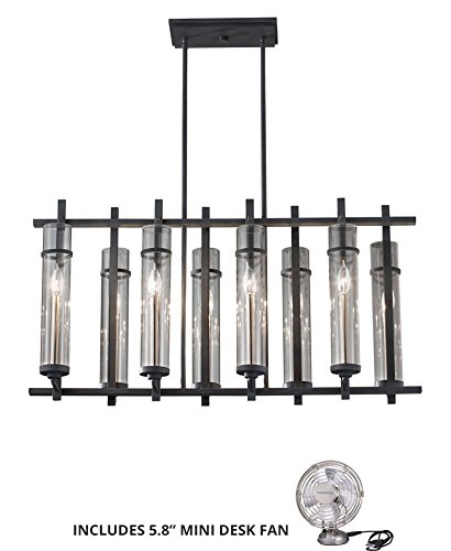 Feiss F2630/8AF/BS, Ethan Candle Chandelier Lighting, 8LT, 480watt, Forged Iron (Includes Mini Desk Fan) (Table Antique Chandelier Forged Iron)
