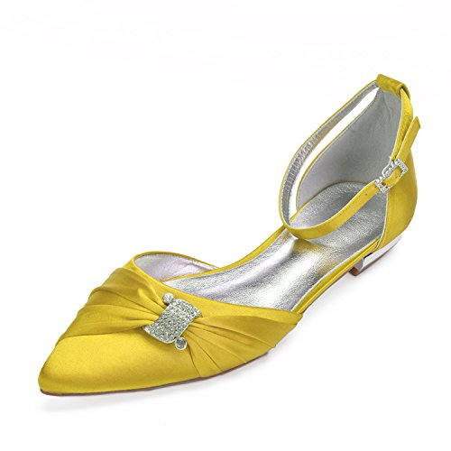 Shoes Ballerinas Elegant Yellow Satin MarHermoso Womens Ankle Strap Pointed Flat Toe n6FBqpaw