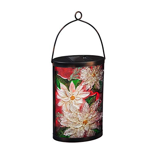 Evergreen Garden Glowing Chic Seasonal Hand-Painted Poinsettia Solar Glass Lantern - 7
