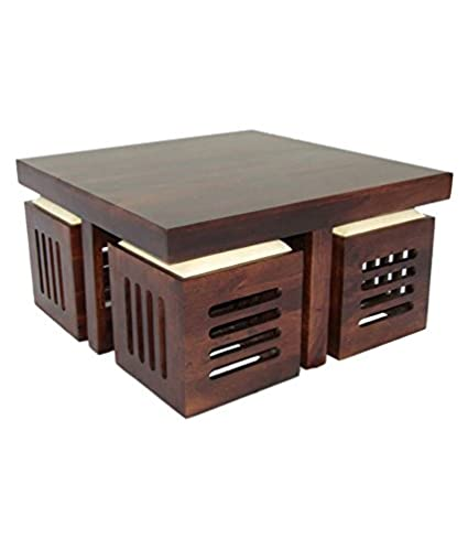 Aprodz Solid Wood 4 Seater Coffee Table Stool Set For Home Dark