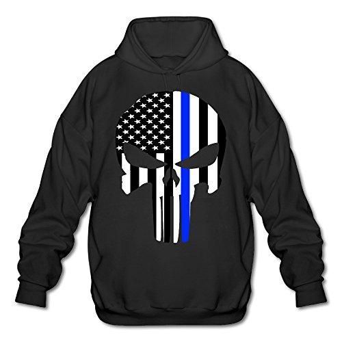 Wesley Thin Blue Line Skull Men's Athletic Fleece Sweatshirt Black M