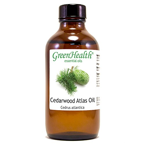 GreenHealth Cedarwood Atlas - 4 fl oz (118 ml) Glass Bottle w/Cap - 100% Pure Essential Oil