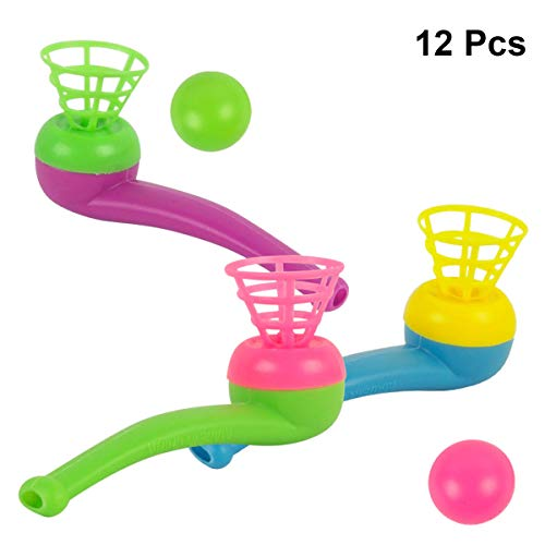 Capacity Pipe - STOBOK Plastic Floating Ball Blowing Toy for Kids Boys and Girls Party Favors 12PCS (Random Color)