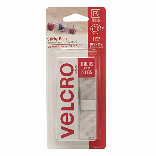 VELCRO Brand - Sticky Back Hook and Loop Fasteners| Perfect for Home or Office |  18in x 3/4in Tape | White]()