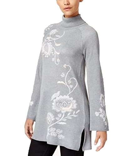 Style & Co. Embroidered Turtleneck Tunic Sweater (Bold Grey Heather, XL)