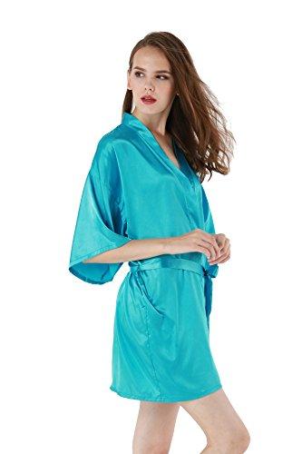 Vogue Forefront Women's Satin Plain Short Kimono Robe Bathrobe, Medium, Sky Blue