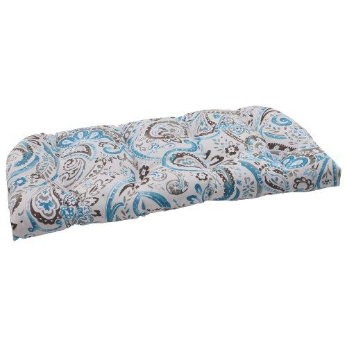 Pillow Perfect Outdoor Paisley Wicker Loveseat Cushion, Tidepool (Settee Paisley)
