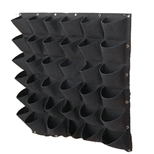 XGZ Planting Bags, 36 Pocket Vertical Wall Mounted Rattan Garden Planters Grow Bags Plant Pouch Hanging Flower Bags for Yards, Apartments, Balconies, Patios, Schoolyards (Black) by XGZ