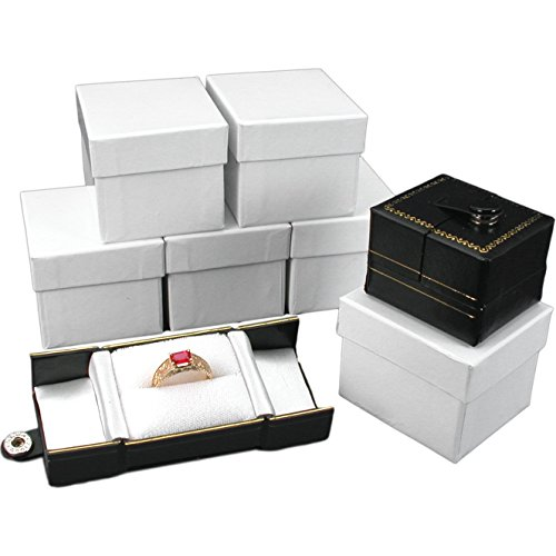 Leatherette Ring Box (6 Black Leatherette Snap Closure Ring Boxes Displays)
