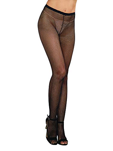 Back Seam Pantyhose Stockings - Dreamgirl Women's Fishnet Pantyhose with Back Seam, Black, One Size