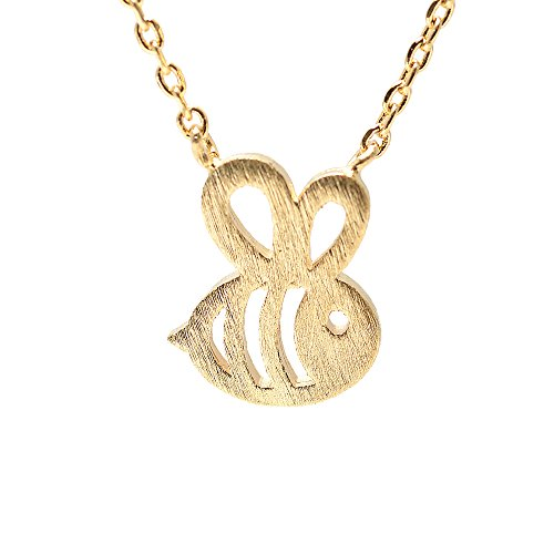 Charm Necklace Bee (Spinningdaisy Handcrafted Brushed Metal Cut Out Bumble Bee Necklace Gold)