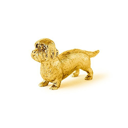Dandie Dinmont Terrier Made in UK Artistic Style Dog Figurine Collection 22ct Gold Plated
