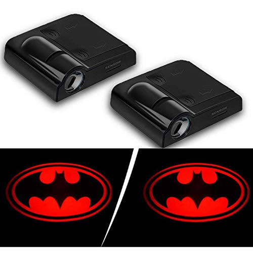 - 2019 Batman Auto Courtesy Lamp(2pcs), Car Door LED Lighting Entry Laser Ghost Shadow Projector 3D Logo Car Welcome Puddle Lights (New Red Bat)