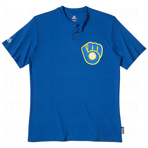 Majestic Two Button Milwaukee Brewers Cool Base Throwback Large Jersey ()