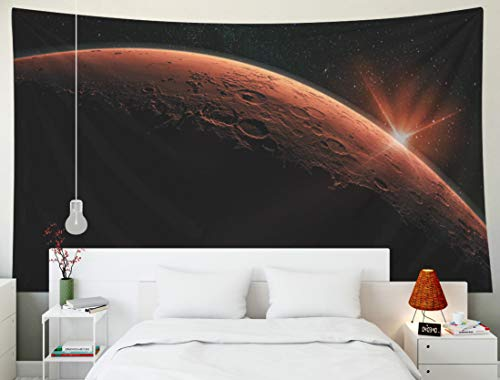 Bisead Beach Tapestry, Map Art Tapestry Mars High Resolution Image Planet The Solar System Sunrise Flare Elements This Furnished by NASA a Lens Wall Hanging Gifts for Bedroom Dorm Décor
