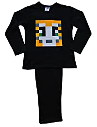 ThePyjamaFactory Boys Girls StampyLongNose Pyjamas Pixel 7-12 Years Stampy Pjs Black