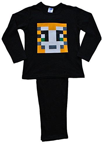 ThePyjamaFactory Boys Girls Stampylongnose Pajamas Black Black Pixel 7-12 Years Stampy Pjs (7-8) -