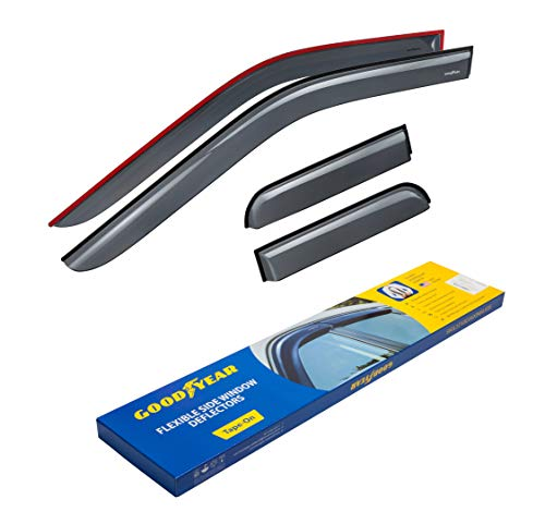 Goodyear Shatterproof Side Window Deflectors for Trucks Ford F-150 2015-2019 SuperCab, Tape-on Rain Guards, Vent Window Visors, 4 Pieces - GY003113