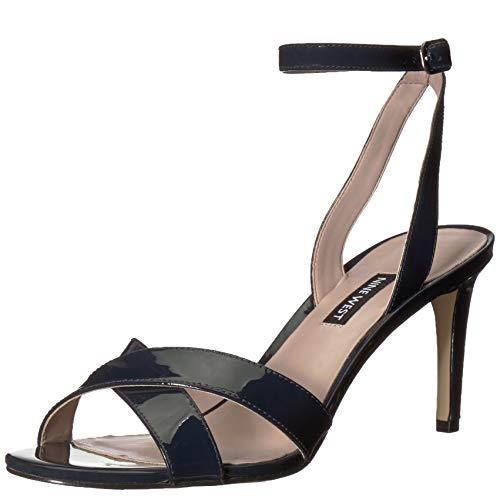 Nine West Women's Apryle Patent Heeled Sandal, Navy, 6.5 M US