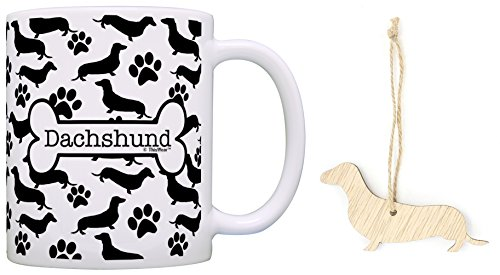 Dachshund Christmas Ornament & Dachshund Coffee Mug Tea Cup Bundle Dog Lover Stocking Stuffer ()