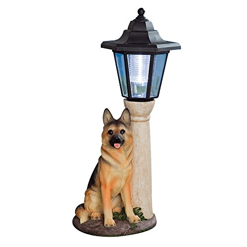 Bits and Pieces-Solar Shepherd Lantern-Solar Powered Garden Lantern - Resin Dog Sculpture With LED Light