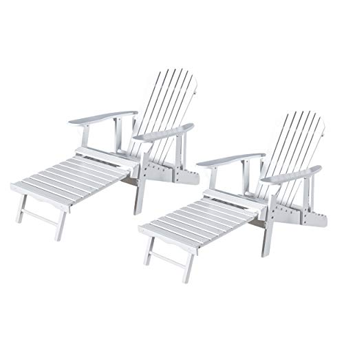 Christopher Knight Home Tampa White Reclining Wood Adirondack Chair with Footrest Set of Two (2) ()