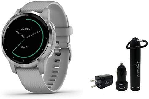 Garmin Vivoactive 4 GPS Smartwatch and Wearable4U Power Pack Bundle (Shadow Gray/Silver)