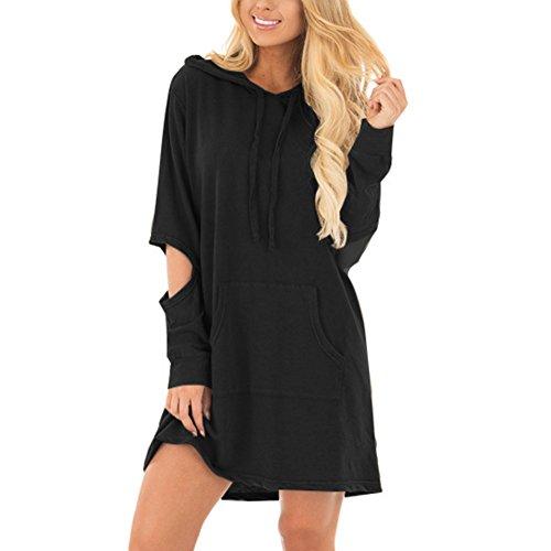 Hooded Tunic Pants - HUHHRRY Women Plus Size Tunic Pullover Sweatshirt Long Sleeve Casual Tunic Hoodie Dress