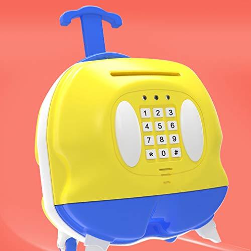 Money Banks Creative Piggy Bank Suitcase Plastic Anti-Fall Password Box High Capacity  Automatic Money Violet Counterfeit Music Tingting ( Color : Yellow , Size : 21.522.515cm ) ()