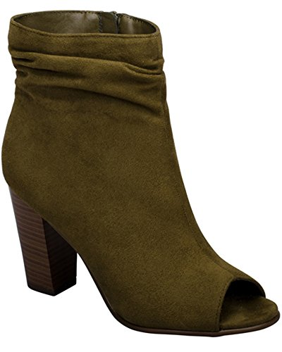 Breckelles Womens Slouchy Accatastato Tacco Grosso Peep Toe Bootie Oliva