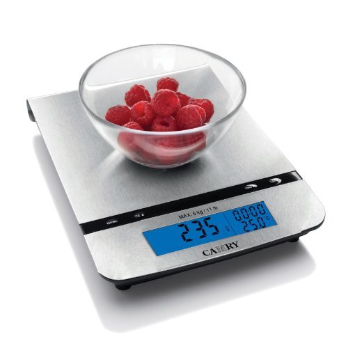 Camry-Digital-Food-Scale-Multifunction-with-Thermometer-Alarm-Timer-Real-Time-Clock-Hang-to-Stow-Stainless-Steel