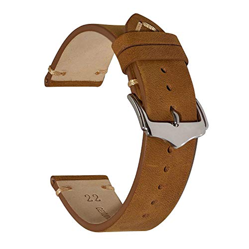 EACHE Leather Watch Band 22mm for Men Replacement Watch Strap for Women Vintage Crazy Horse Leather Watchband Tan Silver Buckle