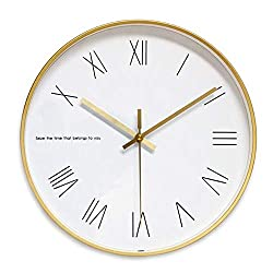 JUSTUP Golden Wall Clock, 12in Non-Ticking Metal Wall Clock Battery Operated Silent Large Decorative for Kitchen Living Room Bedroom (Roman)