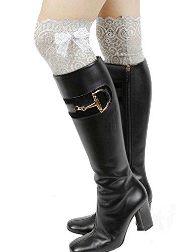 Gingas Galleria Mujeres Rhinestone Bow Stretch Lace Bota Puños Gris / Blanco