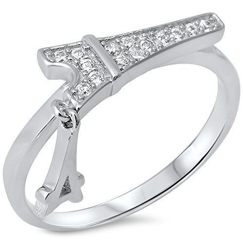 Pave Cubic Zirconia Eiffel Tower .925 Sterling Silver Ring Size 5 (Tower Eiffel Ring)