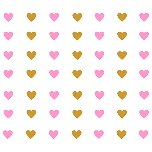 (JUEKUI Set of 98 Hearts Wall Decal Decor Nursery Adhesive Heart Wall Parttern Decal Vinyl Stickers for Kids Baby Nordic Corazones Bedroom Decoration WS20 (Gold and Pink) )
