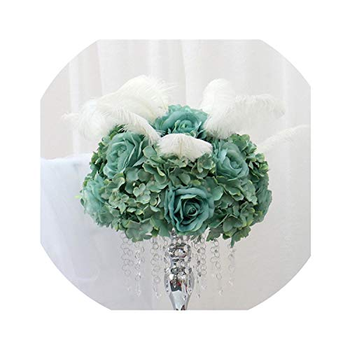 Polaris123-artificial-flowers New Simulation Flower Mixed Rose Peony Feather Fake Flower Ball Home Decoration Wedding Sign-in Desk Table Road Guide -