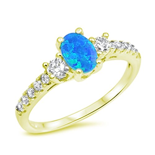 Accent Wedding Ring Oval Cut Lab Created Blue Opal Round CZ Yellow Tone Plated 925 Sterling Silver Yg Opal Ring