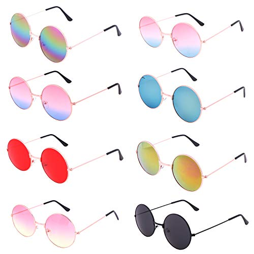 Halloween Activities For School Agers (8 Pieces Hippie Round Sunglasses Retro 60's Circle Glasses Hippie Dressing John Lennon Style Rimless Tinted Lens Glasses for Women,Men,Teenagers,Girls,Boys,8)