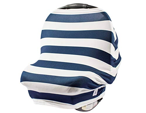 Navy and Stripe – 5-in-1 Multi use Nursing Cover car seat Canopy for Girls + Boys by Buddies + Bear - Best for Breastfeeding, Shopping cart, high Chair. Unisex 360 Degree Coverage. Great Shower Gift (Car Seat Cover Toddler Floral)