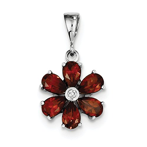 Pen Personalized Sterling Silver Jewelry - ICE CARATS 925 Sterling Silver Red Garnet Diamond Flower Pendant Charm Necklace Gemstone Fine Jewelry Ideal Gifts For Women Gift Set From Heart
