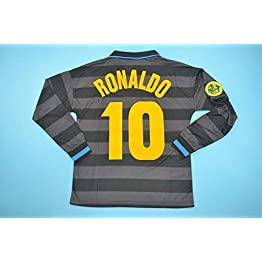 BROOK Ronaldo#10 Inter Milan Away Retro Long Sleeve Soccer Jersey 1997-1998