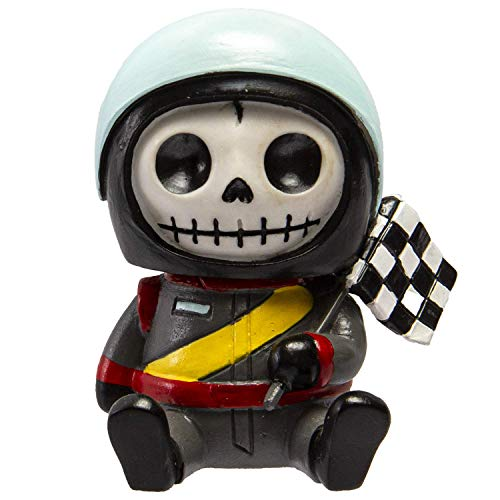 Furrybones Summit Collection Race Car Driver Jerry Figurine Decorative Signature Skeleton in Go Kart Nascar Formula One Racing Gear Checkered Flag Costume 3 Inch Tall Collectible Statue