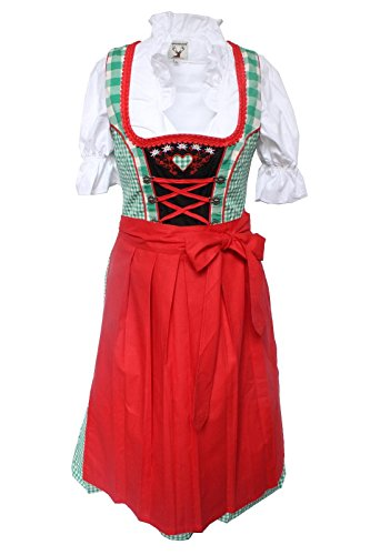Alpenmärchen, 3tlg. Dirndl-Set - Trachtenkleid, Bluse, Schürze, grün-rot, Größe: 36