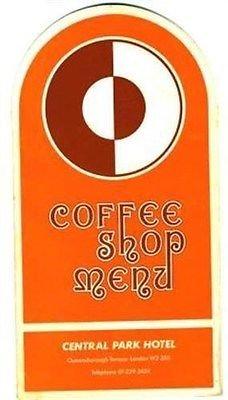 Central Park Hotel Coffee Shop Menu Queensborough Terrace London England 1970's (Coffee Terrace)