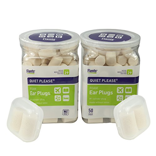 2 Pack Flents Quiet Please Noise Reducing Ear Plugs (NRR 29) - Total 100 Pairs + 2 FREE Clear Cases