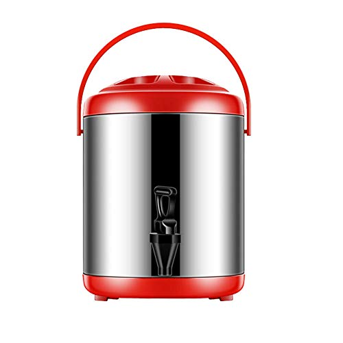 FEOOWV Stainless Steel Insulated Beverage Dispenser 121oz/0.95 Gallon, for Hot and Cold Water,Drink,Coffee,Milk,Fruit Juice (Red) (Insulated Hot Beverage)
