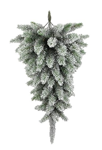 Admired By Nature GXW4917-SNOW 77 Tips Christmas Pine Teardrop Swag With Frosted Snow Tips by Admired By Nature