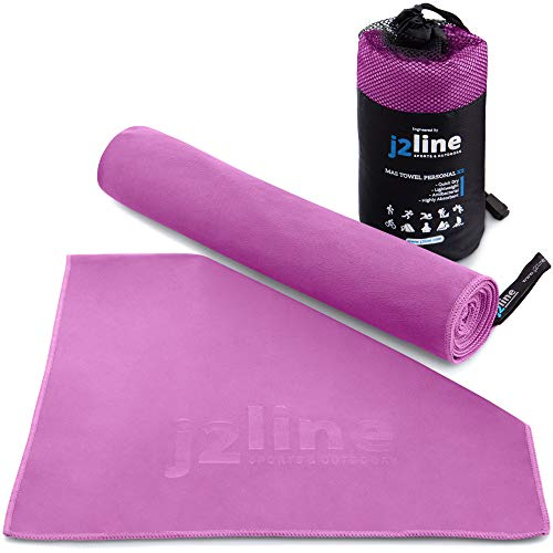 j2 Line A Set of 2 Compact Fast Drying Antibacterial Microfiber Towels with Free Hand/Face Cloth & Travel Towels Perfect for Fitness, Gym, Hiking, Camping and Beach - Super Absorbent
